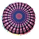 Housse De Coussin, Angelof Mandala Indien Rond Plancher Oreillers BohèMe Oreillers Coussin Polyester Housse de Coussins (43*43cm) (Violet)