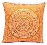 Housse de coussin fait de Banarasi soie de l'Inde, pour la décoration, 40x40, brun, beau design canapé-lit, fabriqués à partir ...
