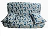 Housse matelassée pour banquette clic clac 130 x 190 JACQUARD RES BLUE - dos non recouvert