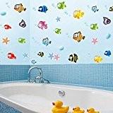 Hrph Poissons Cartoon Underwater World Stickers Muraux PVC Décoration Maison pour Salle de Bain Chambre d'Enfants Salon Canapé Fond Amovible ...