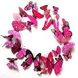 HuaYang 12 Pcs 3D papillon multi-couleurs sticker mural décor de la maison(Violet)