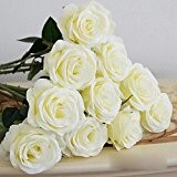 HuaYang Beautiful Silk Flower Artificial Latex Fake Rose Stem for Wedding Home Office Party Decor(2Pcs: White) by HuaYang