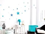 I-love-Wandtattoo Sticker mural avec ce kit de 10105Chambre Sticker mural étoiles bleues pour garçon à coller Sticker mural mural décoratif