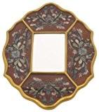 Ian Snow Miroir péruvien peint Motif floral Rouge