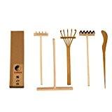 Icnbuys Professional Mini outils de jardin zen Ensemble de trois crochets One en bambou Drawing Pen One repousser Sable Pen