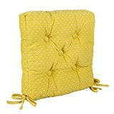 Icrafts pur coton de cuisine Assise Coussin de chaise avec attaches pour éviter les coulissante Jaune carré Galette de chaise, ...