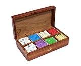 Icrafts Thé support Boîte de rangement de coffre en bois sculpté à la main avec incrustation laiton Pill Boxes