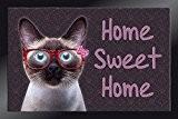 ID Mat 4060 Decomat Chat Home Sweet Home Tapis Paillasson Fibre Polyamide/PVC Marron 60 x 40 x 0,5 cm