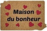 ID Mat 4060 Decoup'Flock Maison du Bonheur Tapis Paillasson Fibre Polypropylène Marron 60 x 40 x 1,2 cm