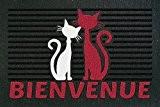 ID Mat 4060 Rubberflock Chats Bienvenue Tapis Paillasson Caoutchouc Noir 60 x 40 x 0,8 cm