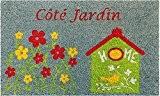 ID Mat 4575 Trendy Tapis Paillasson Imprimé Blanchi/Jardin Fibre Coco/PVC Gris 75 x 45 x 1,5 cm