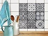 Image d'impression | Carrelage Autocollant Sticker - Aménager cuisine | Motif Black n White | 20x20 cm (9 pièces)