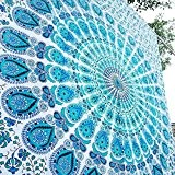 Indian-hippie Bohemian-ethnic-psychedelic Peacock-mandala Wall-hanging-tapestry-blue-green Twin-size-54 X 72