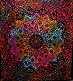 Indian-hippie Bohemian-psychedelic-elephant Star-mandala Wall-hanging-tapestry-tie-dye-red Queen-size-large-84 X 90