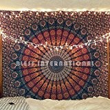 Indian-hippie-hippy Bohemian-psychedelic Peacock-mandala Wall-hanging-tapestry-golden Twin-size-large