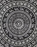 Indian Mandala Black and White Tapestry Elephant Hippie Tapisserie Murale Boho Room Decor Wall Hanging throw Tapestry Coton Tenture Par ...