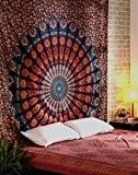 Indien Mandala Tenture Orange Wall Hanging grand Tapisserie bohémien fleur Paon Tapestry Par Rajrang