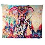 Indien Tapisserie Boho éléphant coloré imprimé décoratif Tapisserie Mandala, C(203cmx153cm)