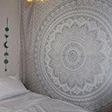 indien traditionnel Mandala hippie Tapisserie murale, coton Gris/argenté ombré Taille Queen Bohème Couvre-lit