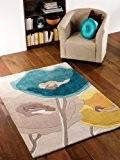 Infinite Art Flowers Motif coquelicot Bleu sarcelle/Fleurs Jaunes 120 x 170