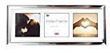 Inov8 21 x 8 cm (Insta-Cadre Photo pour 3 Photos Instagram carré avec Passe-Partout Blanc/Noir-Lot de 2 Chrome