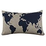 Internet Carte du monde canapé lit Home Café Decor taie d'oreiller Carré housse de coussin Coton lin Invisible fermeture à ...