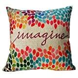 Internet Images colorées canapé lit Home Café Decor taie d'oreiller Carré housse de coussin Linge de coton Invisible fermeture à ...