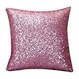 Internet Paillettes Sequins canapé lit Home Café Decor taie d'oreiller Carré housse de coussin Invisible fermeture à glissière (45cm*45cm, Rose)
