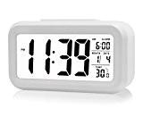 Itian Alarme LED Horloge Numérique Sommeiller la Lumière du Capteur Rétro-éclairage Affichage de la Température (Blanc)