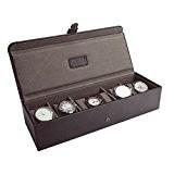 JACOB JONES Brown Watch Box with Khaki Canvas Lining