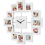 Jago - Horloge murale avec 12 cadres photos avec effet 3D – Blanc – COLORIS AU CHOIX