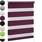Jago - Store enrouleur – 120 x 230 cm – Aubergine – luminosité réglable grâce aux 2 bandes textiles parallèles ...