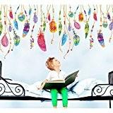 Japace® Créatif Plume Rêve Catcher Imperméable Stickers Muraux Art Décalcomanie pour Enfants Chambre