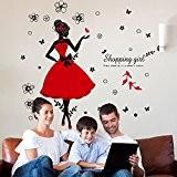 Japace® Danseuse Fille Imperméable Stickers Muraux Art Décalcomanie pour Chambre, Bureau, Dortoir, Magasin