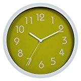 """Jinberry 10"""" Rond Silencieuse Minimaliste Pendule Murale Moderne / Horloge Analogique Classique, sans Tic Tac - Vert"""