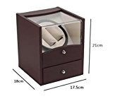 JJH-ENTER 2+2 Rectangle Mute Automatic Double Watch Winder avec Double Watch Rotator Watch Box de rangement , brown