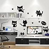 Joli chaton applique murale papier peint mural décoratif de salon, Chambre, de la créativité des filles les enfants de la ...