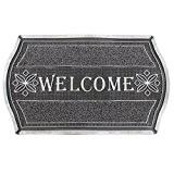 JVL Welcome aspect métallique Motif floral résistant tapis de porte d'entrée au sol, en PVC, argent et noir