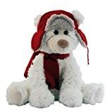 Kalidou 770672 Peluche Ours Bonnet et Echarpe Polyester Rouge 25 cm
