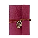 KEERADS Rétro feuille en cuir PU Couverture Loose Leaf Bandage Blank Notebook Journal Diary cadeau(rouge)