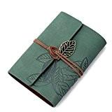KEERADS Rétro feuille en cuir PU Couverture Loose Leaf Bandage Blank Notebook Journal Diary cadeau(vert)