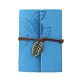 KEERADS Rétro feuille en cuir PU Couverture Loose Leaf Bandage Blank Notebook Journal Diary cadeau(bleu)