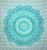 kesrie mur tapisserie Grand Mandala Impression Lotus Bleu