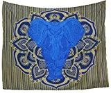 Kesrie wall hanging mandala print large blue elephant in lotus boho décor tapestry