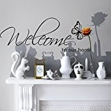 Kiki Monkey® PVC Papillons Noir Inscription Welcome to our Home Cadre Stickers Muraux – Vinyle mémoire Removable Sticker mural décoration pour salon