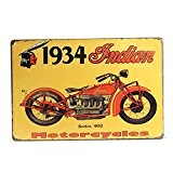 "KING DO WAY ""1934 Indian Motorcycles"" Rétro Murale Plaque Décorative Enseigne Métal Décor Bar Café Garage Metal Sign-30cmX20cm"