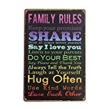 "KING DO WAY ""Family Rules Share"" Rétro Murale Plaque Décorative Enseigne Métal Décor Metal Sign-30cmX20cm"