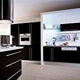 Kinlo élégant Papier peint de cuisine Papier peint 0,61 * 5 M en PVC noir cuisine autocollant coffret feuille DIY ...