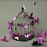 Kit de Stickers 12 3D papillons violet miroirs