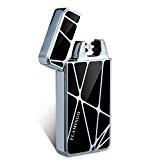 Kivors USB Rechargeable Double Arc Electrique Briquet sans Flamme sans Gaz Anti Vent (Argent)